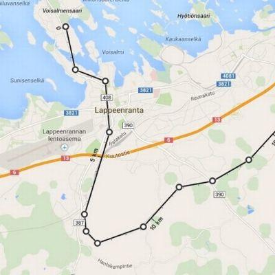 Paikallisjunan mahdollinen reitti Lappeenrannassa.