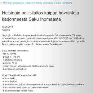 Poliisin tiedote Saku Inomaan katoamisesta