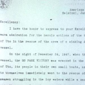 Kiitoskirje Utölle laivaturman pelastustöistä 1948