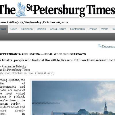 St. Petersburg Times -lehti mainostaa Etelä-Karjalaa