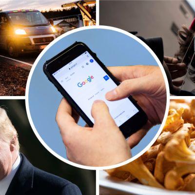 Kuvakombo, jossa henkilön kädet selaavat puhelimella Googlea, kylttien pystytystä Uudenmaan rajalla, henkilö laittaa maskia kasvoilleen, Donald Trump vilkuttaa ja kantarelleja lautasella.