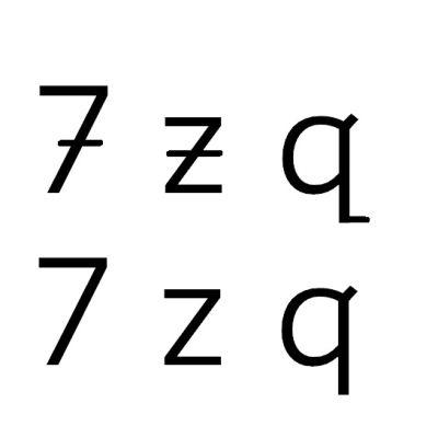 Nygammalt sätt att skriva bokstäverna z, q och siffran 7.