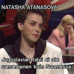 Natasa Atanasova Sana sanasta -ohjelmassa 1992