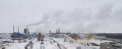 Bild tagen från luften av Metsä Fibres fabrik i Kemi.