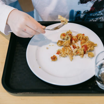 Koululaisen ruokailutarjotin.