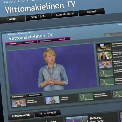 Kuvakaappaus Kuurojen Liiton viittomakielisen netti-tv:n etusivulta.