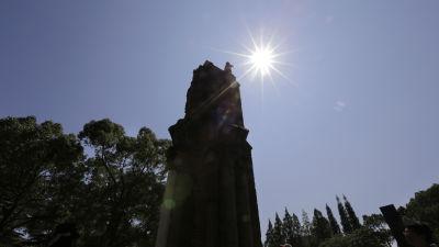 Ruin som behållits som symbol efter atombomben över Nagasaki.