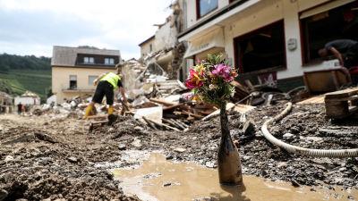 Blommor i en flaska. I bakgrunden en person som städar efter översvämningarna.