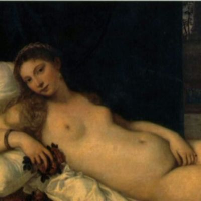 Maalauksessa alaston nainen makaa sängyllä.