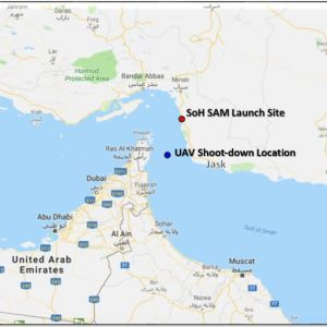 Karta över Hormuzsundet och var en amerikansk drönare sköts ner.