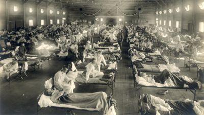 Bild från sjukhus år 1918 i samband med spanska sjukan.