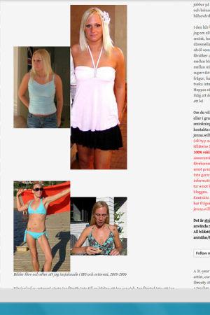 Skärmdump från Jennas blogg, med bilder på henne före och efter insjuknandet.