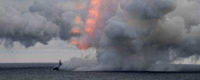 Ett ryskt örlogsfartyg avfyrar en kryssningsmissil under en militärövning