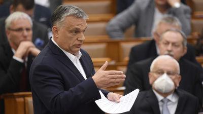 Premiärminister Viktor Orbán höll ett tal i det ungerska parlamentet om coronakrisen den 23 mars.