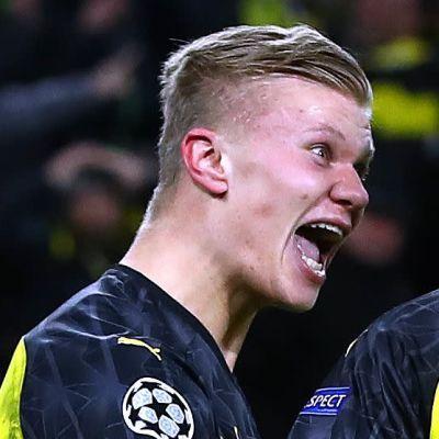 Erling Braut Håland firar mål i Borussia Dortmund.