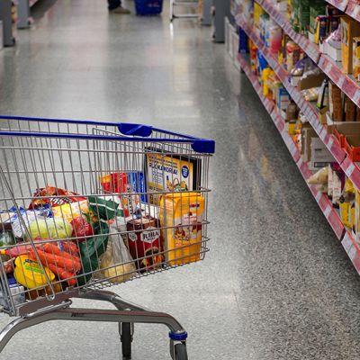 ostoskärryissä ruokaa kaupan hyllyjen välissä