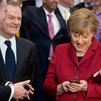 Angela Merkel tietokonemessuilla Hannoverissa, Saksassa, maaliskuussa 2013.