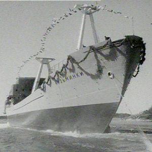 Venäläinen alus lasketaan mereen Uudessakaupungissa