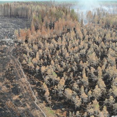 Pirkanmaan pelastuslaitoksen kuvaa Kalajoen maastopaloalueelta 1.8.2021