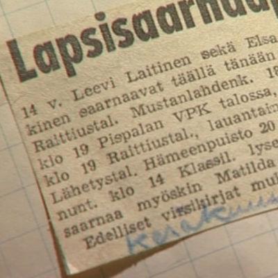 Kuvakaappaus lehtileikkeestä, jossa lukee: Lapsisaarnaaja.