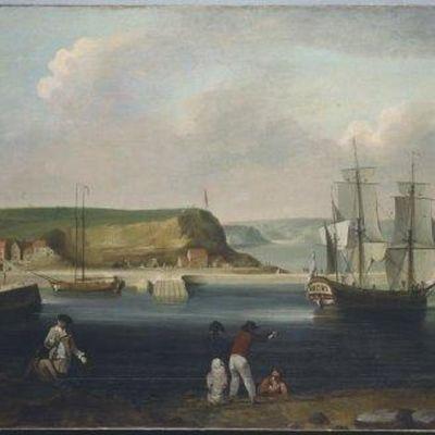 Öljymaalaus purjealuksesta lähdössä kalliorannasta merelle. Rannalla ihmisiä 1700-luvun asuissa.