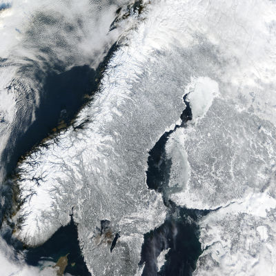 Skandinavien från ovan.
