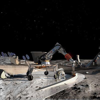 Kaivuukoneita Kuun pinnalla.