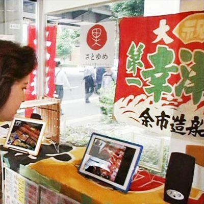 Asiakas katselee iPadia kalakaupassa.