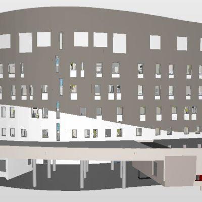 Havainnekuva Seinäjoelle rakennettavasta M-sairaalarakennuksesta