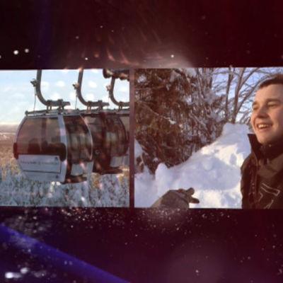 vinterbild med snö och en skidlift