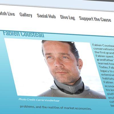 Kuvakaappaus Mission 31 -nettisivuilta, Kuvassa Fabien Cousteau.