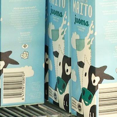 Satamaidon maitojuomia kaupan kylmähyllyssä.