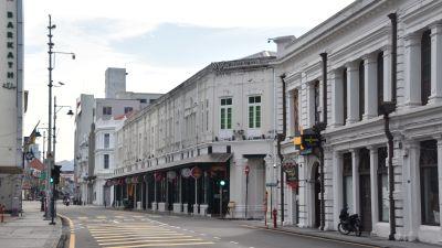 Historiska Georgetown står tomt på folk mitt i coronapandemin.