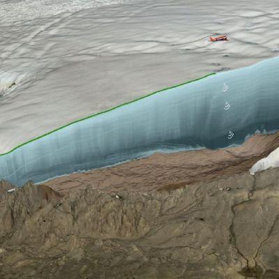 Lentokone suuren jäätikön reunan yllä.