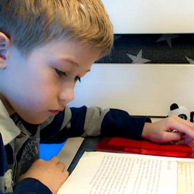 Josua-poika lukee läksyjä.