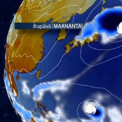 Taifuunin kulkureitti, satelliittianimaatio.