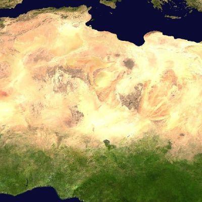 Satelliittikuva Pohjois-Afrikasta.