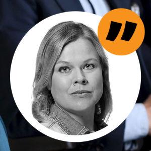 Annika Saarikko och Katri Kulmuni, med Ingemo Lindroos kommentarsstämpel