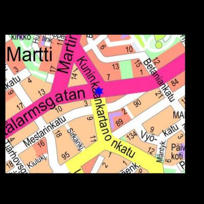 Karta över stadsdelen Martins i Åbo.