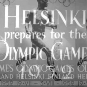 "En bild var det står ""Helsinki prepares for the Olympic Games 1952"""