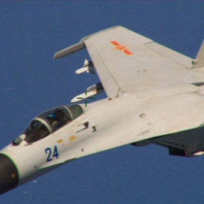 Hävittäjä kuvattuna toisesta koneesta.