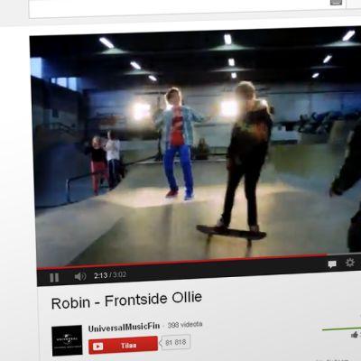 Kuvakaappaus Robinin Frontside Ollie -YouTube-videolta.