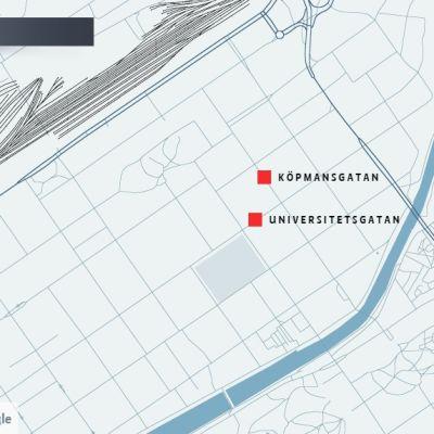 karta över centrum av åbo
