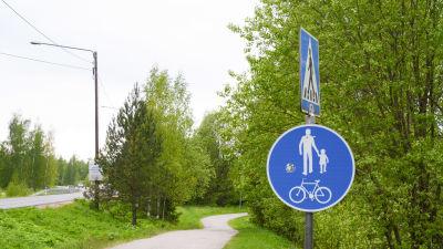 Trafikmärke för gång- och cykelväg framför en gång och cykelväg i en grön miljö.