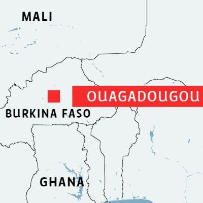 Karta över Brukina Faso och huvudstaden Ouagadougou.