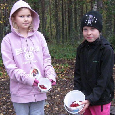 Kaksi tyttöä puolukkasankojen kanssa metsässä.