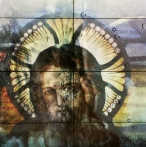 Glasfönster, jesus