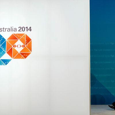 Rysslands president Vladimir Putin anländer till G20-mötet i Brisbane i Australien den 15 november 2014.