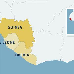 Karta över utspridningen av ebola (22.6.2014).