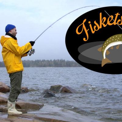 En man står och fiskar med kastspö. Fiskets dag-logo ovanpå bilden.